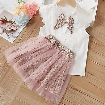 Conjuntos de roupas femininas com camiseta e saia sem mangas de verão