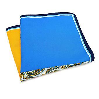 Quarter oranssi & sininen Paisley suuri 33cm tasku neliö
