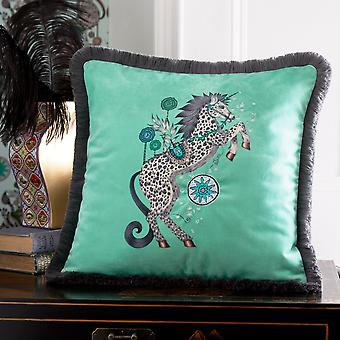 Caspian Majestic Unicorn Cushion By Emma J Shipley In Aqua Blue
