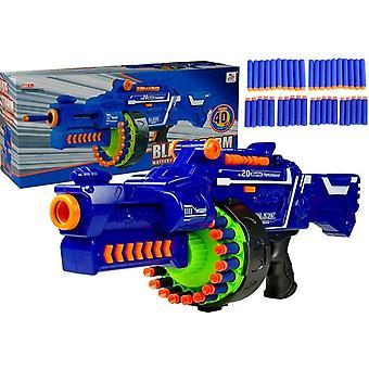 Leksaksgevär blå + 40 skumkulor - stort magasin