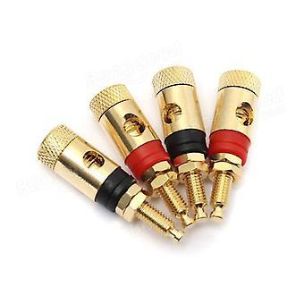 4PCS Copper Gold Plated Adapter AV Audio For Speaker 4mm Banana Plug Test Probe
