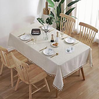 מפת שולחן תחרה פשתן בד שולחן בית קפה דקורטיבי לסלון (140 * 180CM)