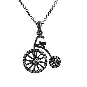 دراجات مزركشة العتيقة قلادة مع أحجار الراين الهيماتيت
