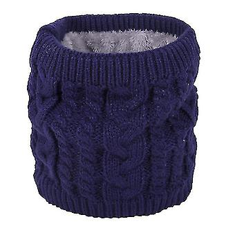 Neck gaiters warm scarf in winter, all-match knitted scarf for couples, pure color plus velvet scarf(blue) #116