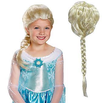 Frozen Girls Elsa Anna Fancy Dress Perruque - (Blonde) - (JS101)