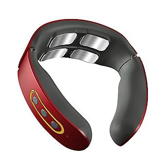 Four Heads Cervical Spine Massager Electric Pulse Hot Compress Neck Massager Wireless Remote Control Neck Massager And Neck Protector