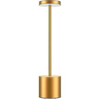 Draadloze LED-tafellamp draagbare USB oplaadbare (gouden)