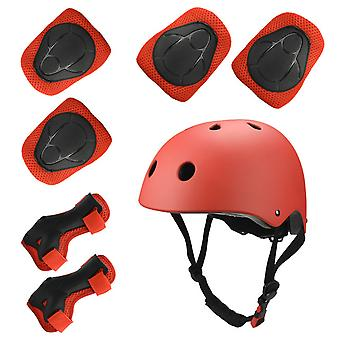 Sports Protective Gear Children's Helmet And Protective Gear 7 Piece Set (red