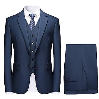 Mile Mens Double Breasted Solid 3 Piece Suit Slim Fit Blazer Jacket & Trousers & Waistcoat