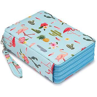 Caja de lápiz de color, soporte de lápiz de ranura 200, caja de almacenamiento de lápiz de gran capacidad con mango, caja de lápiz de color con flamenco impreso