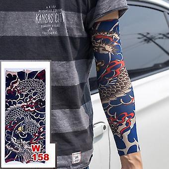 Fake Temporäre Tattoo Ärmel Tattoos Full Long Slip On Arm Tattoo Sleeve Kit Männer Elastische Nylon Handschuh Tattoos Schwarz Totenkopf Design