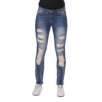 blå hvit kvinners revet skinny jeans