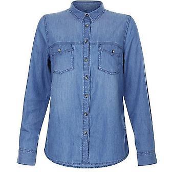 Новый взгляд женщин случайных деним кнопку рубашка