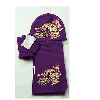 Dívky Disney Violetta Zimní Set Čepice Klobouk, Šátek a rukavice
