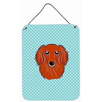 Checkerboard Blue Longhair Red Dachshund Wall or Door Hanging Prints