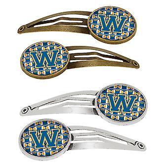 Letter W voetbal blauw en goud Set van 4 haarspeldjes Hair Clips