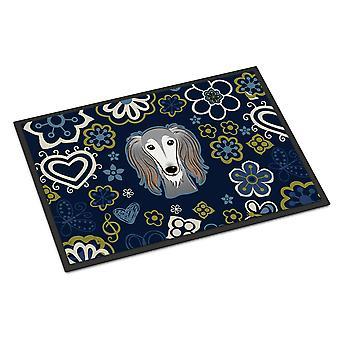 キャロラインズ宝物 BB5080MAT 青い花サルーキ屋内または屋外マット 18 x 27