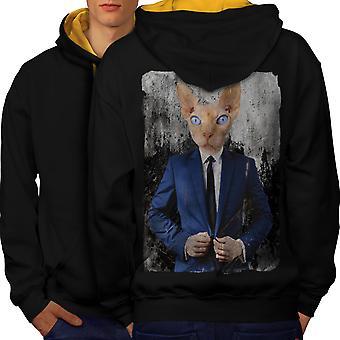 Sphynx puku hauska kissa miesten musta (Gold Hood) kontrasti huppari takaisin | Wellcoda