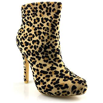 Ladies Womens New High Stiletto Heel Fashion Leopard Ankle Zip Boots Shoes