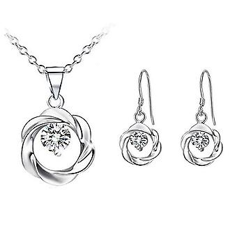 Silber und weiß-Kristall-Anhänger Halskette und Ohrringe Set