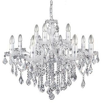 Ideal Lux Florian 12 Arm Chrome And Clear Crystal Chandelier Light