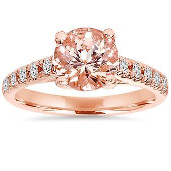 8MM Morganit & 1/4 Karat Diamanten 14K Rose Gold Engagement Ring (1 3/4TW)