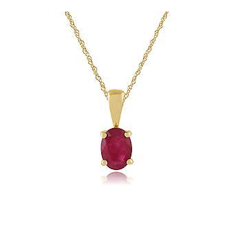 9ct geel gouden 0.95ct Ruby ovale enkele stenen hanger aan ketting
