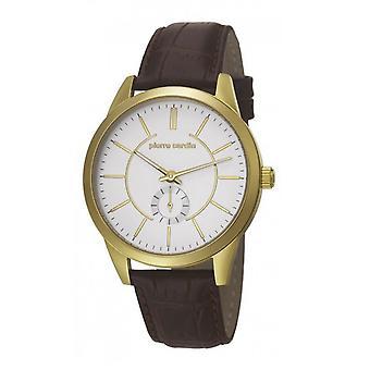 Pierre Cardin mens watch wristwatch TROCA SILVER leather PC106571F03