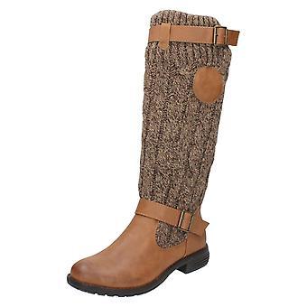 Senhoras para a terra, altura do joelho de malha superiores botas