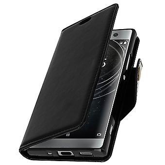 Vintage flip magnetiske faux læret rettssak, står saken for Sony Xperia XA2 - svart