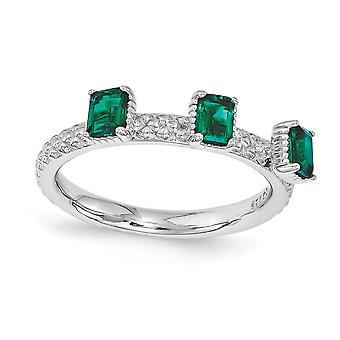 2.5mm 925 Sterling Silver Polished Prong set Stackable Expressions Created Emerald Three Stone Ring Jewelry Gifts for Wo