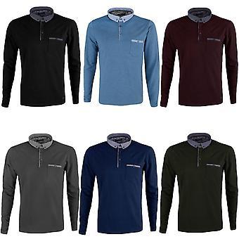 Brave Soul Mens Long Sleeve Polo Shirt Plain Cotton Collar Top