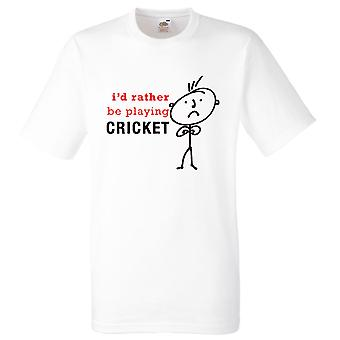 Men's I'd Rather Be Playing Cricket White Tshirt