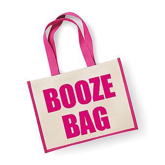 Large Pink Jute Bag Booze
