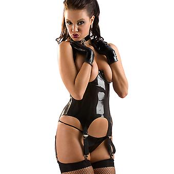 Honour Women's Sexy Basque in Rubber Black Cupless Style Lace Back