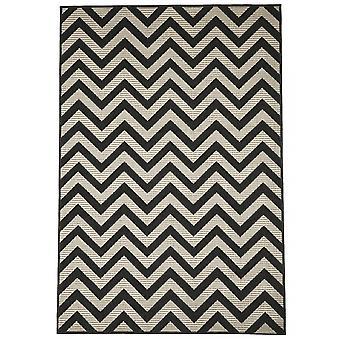 Открытый ковер для Терраса / Балкон черный естественный белый слоновой кости современного Zigzag черный 200 / 285 см ковер крытый / открытый - в помещении и на открытом воздухе