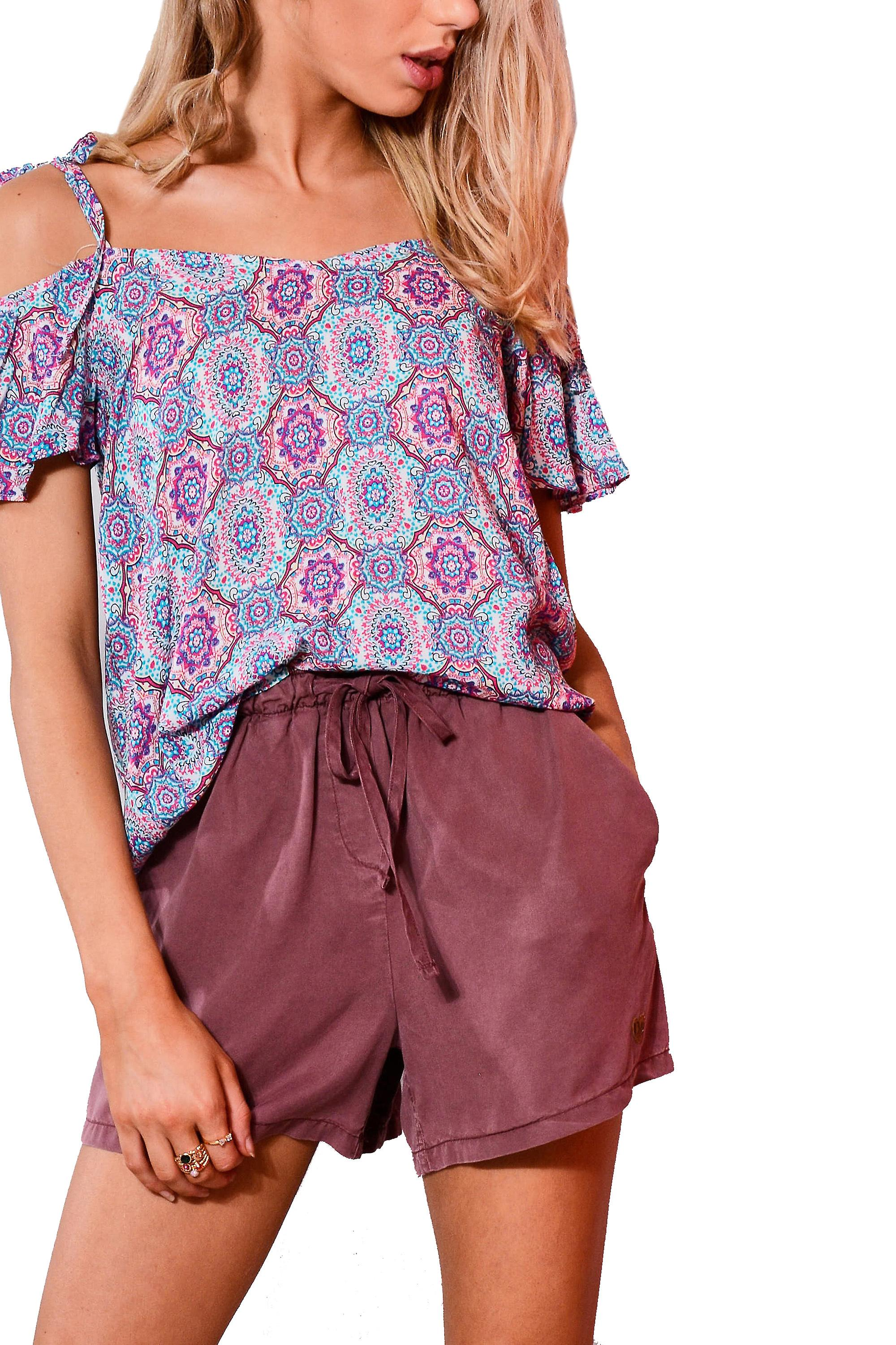 Double Agent High Waisted Relaxed Purple Shorts With Draw String