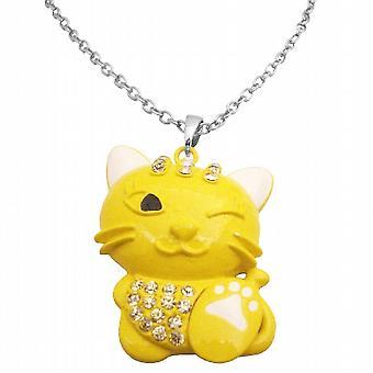 Smalto dipinto ciondolo gatto giallo carino molto malizioso w / artiglio bianco