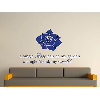 A Single Rose Wall Art Sticker - Azure