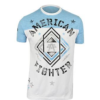 Boxeador estadounidense Mens Kennesaw camiseta-blanco/cristal azul