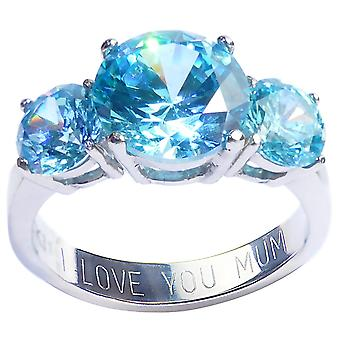 Ah! Jewellery 'I Love You Mum' Engraving. 3 Aqua Stone Stainless Steel Ring