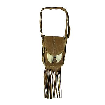 Genuine Leather Hair-On Hide Trim Fringed Crossbody Bag Small