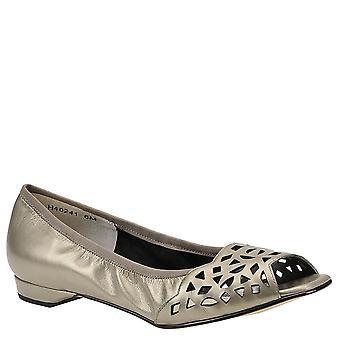 Mark LEMP Classics Womens Mercy Leather Peep Toe Slide Flats