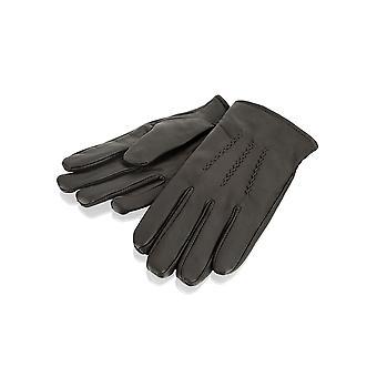 Mens Brown Stitch Detail Leder Handschuhe
