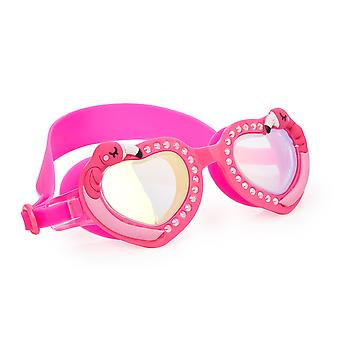 Girls pink heart flamingo fun swimming goggles