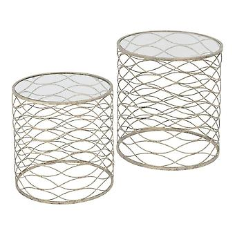 Libra Furniture Set Of Two Nesting Tables With Distressed Gold Finish And Glass Top