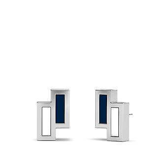 Yale University Sterling Silver Asymmetric Enamel Stud Earrings In Blue and White