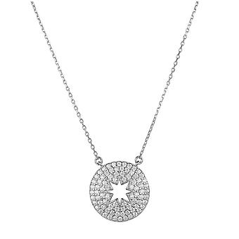 Open Star Disc Pendant Necklace Silver Chain Gemstone Gift Charm Birthday 925
