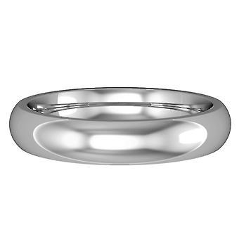Κόσμημα γάμου 18ct λευκό χρυσό 4mm Premium σε σχήμα Δικαστηρίου δαχτυλίδι δέσμευσης γάμο Band
