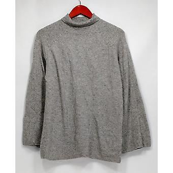 Du Jour suéter Mock cuello campana manga túnica brezá gris A300208
